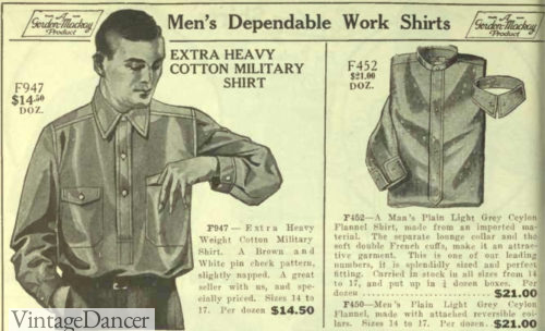 1922 military surplus shirt and collarless shirt with separate collar mens 1920s workwear casual shirts at VintageDancer
