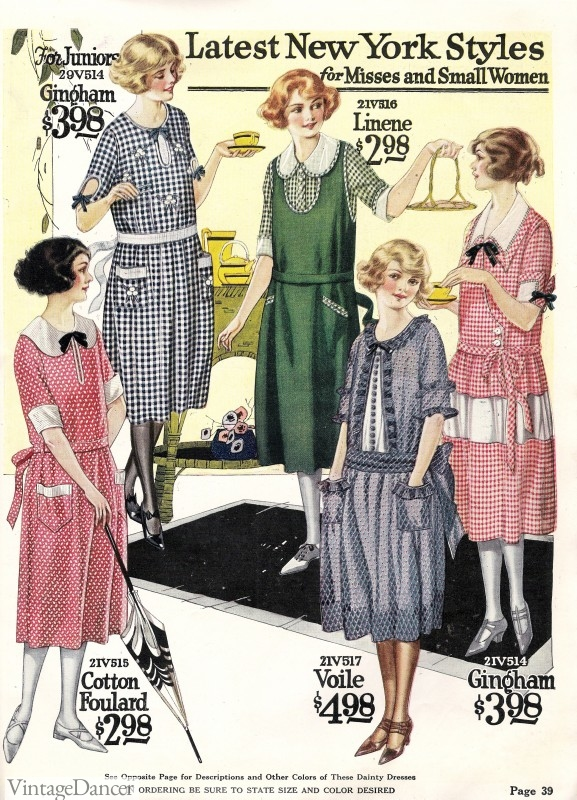 1920s gingham day dresses