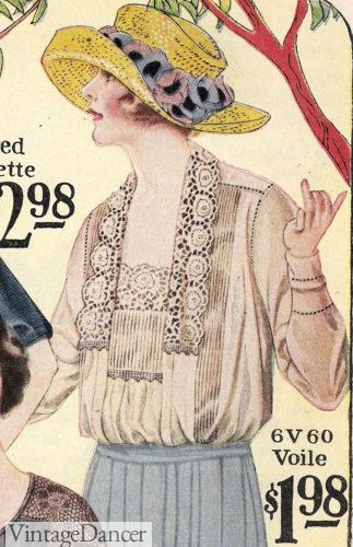 1922 lace tuxedo collar blouse at VintageDancer