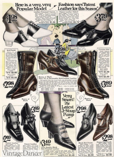 1920s shoes women, 1922 heels, oxfords, boots and sandals at VintageDancer
