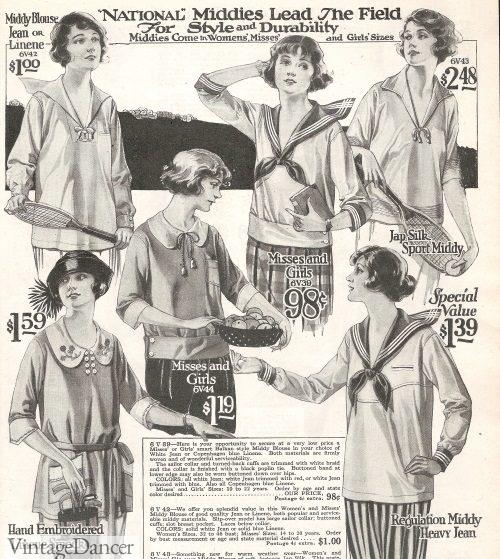 1920s Middy Shirts or Sailor Shirts at VintageDancer