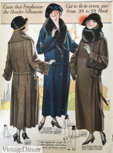 1923 women coats overcoats, dropped belts and longer lengths. Stout Sizes.