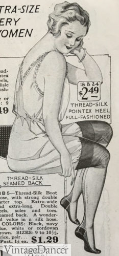 1923 reinforced heel, toe and ban stockings at VintageDancer