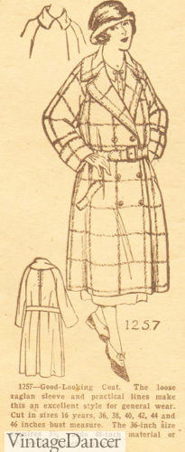 1924 Collegiate style coat, trench coat, windowpane