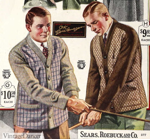 1924  mens pattern contrast cardigans