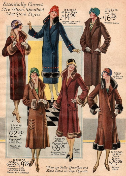 "1925 coats with gored backs for some ""swing."" See more 1920s art deco coat styles at VintageDancer"
