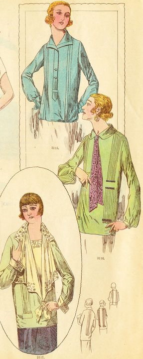 1926 neckties on blouses were common throughout the 1920s