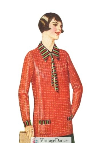 1920s womens overblouse sweater shirt at VintageDancer