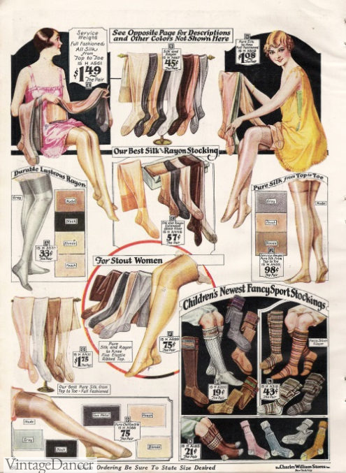 1927 colored stockings and socks