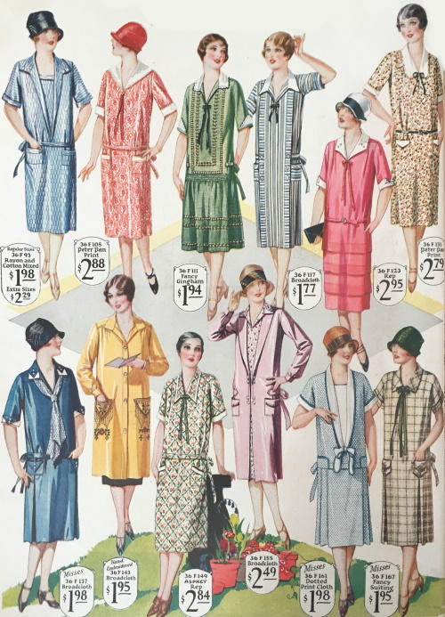 1927 short sleeve day dress- many more patterns and colors