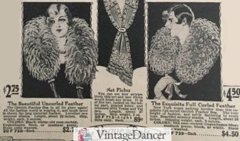1927 straight or curled feather boas with ribbon tie