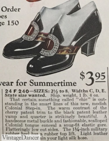 1927 colonial two-tone buckle pump shoes at VintageDancer