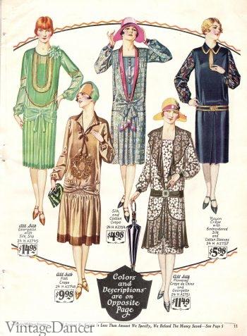 1927 dresses with a few drop waist belt styles