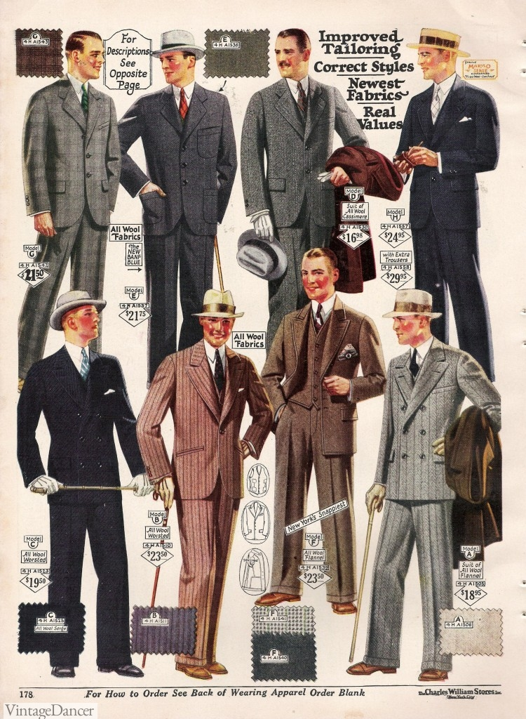 1927 men s fashion suits bold prints in single and double breasted