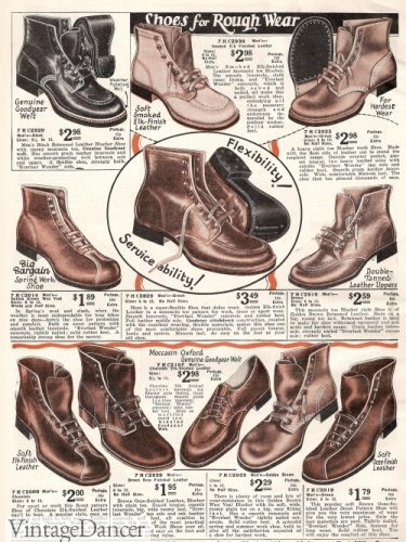 1927 men's work boots and shoes 1920s