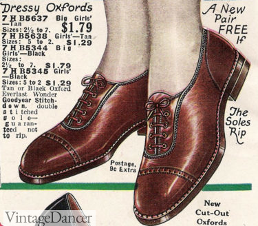 1927 cap toe flat oxford at VintageDancer