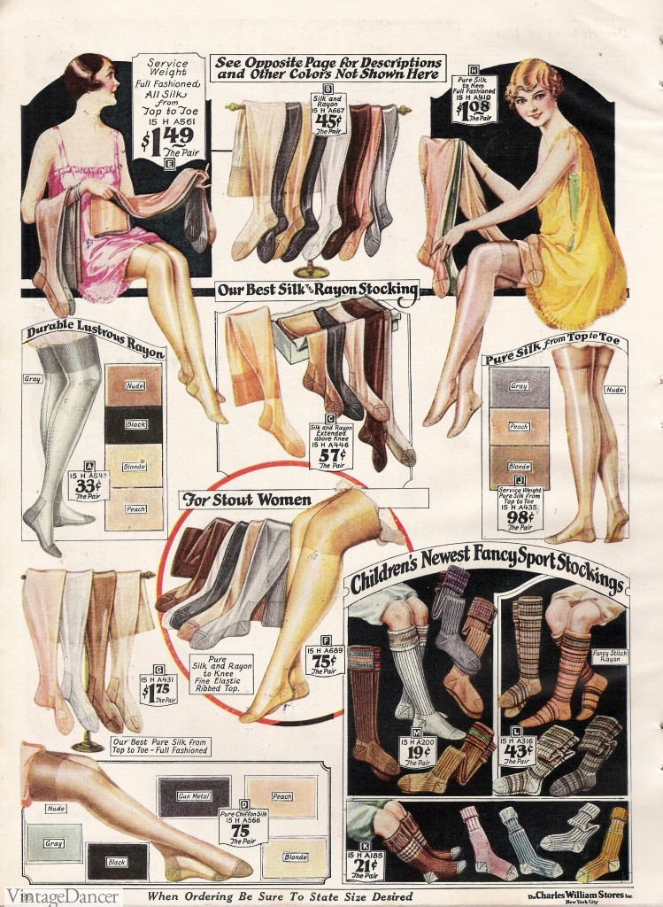 1920s stockings ad 1920s Stockings Catalog in color at VintageDancer