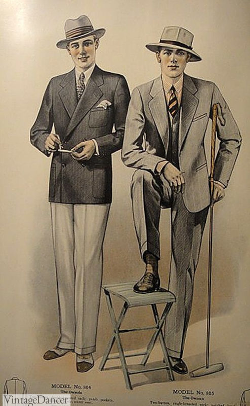 1927 yachting suit of navy blue jacket and white flannel trousers
