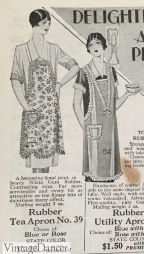 1928 tea aprons with ruffled edges