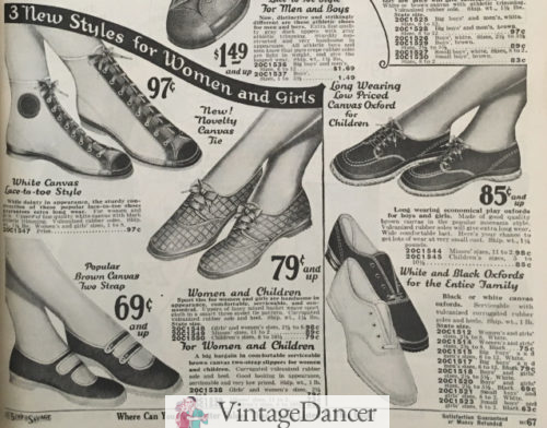 1927 canvas hip tops, woven oxfords, canvas sandals, and low tennis shoes. Casual Womens 1920s sport shoes at VintageDancer