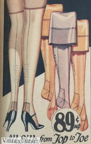 1929 fully fashioned stockings with unmistakable fashion marks at VintageDancer
