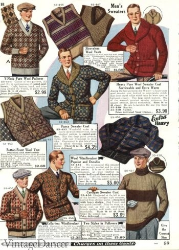 Late 1920s sweater are full of pattern and texture. 1928 mens sweaters