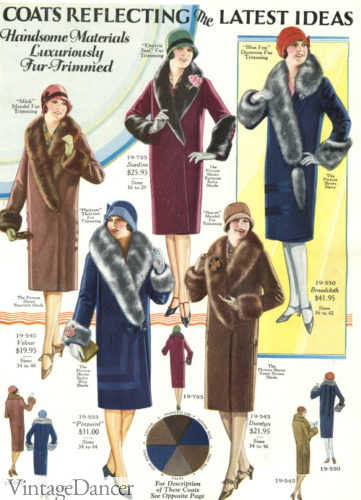 1928 fur collar coats at VintageDancer