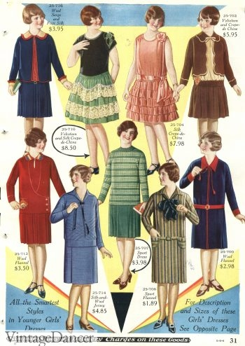 1928 Girls dresses but these styles were worn by teens and women too