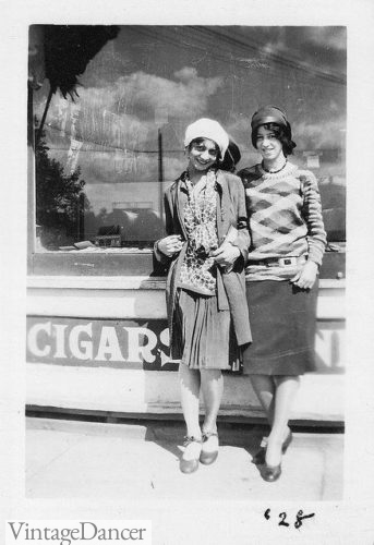 1928 teen in knit tops and skirt sets