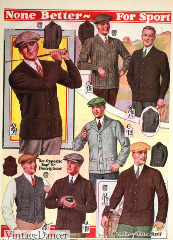 1928 mens plain cardigan sweaters at VintageDancer