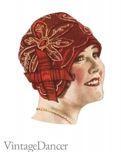 1920s cloche hat red 1928 velvet embroidered cloche hat