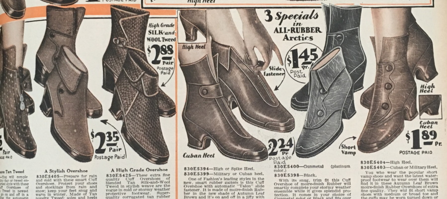 1930 fabric and rubber mixed rain shoes boots winter