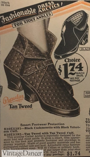 1929 tweed buckle overshoes at VintageDancer