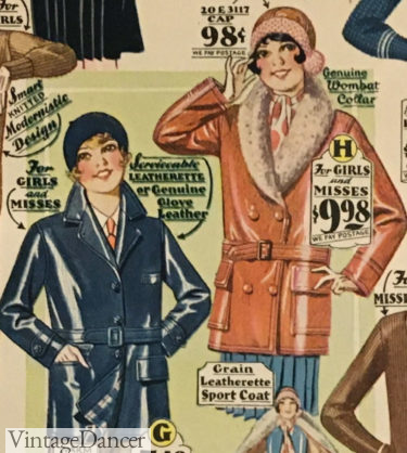 1929 girls or misses imitation leather colored jackets at VintageDancer