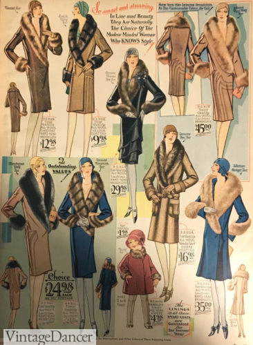1929 fur collar coats at VintageDancer