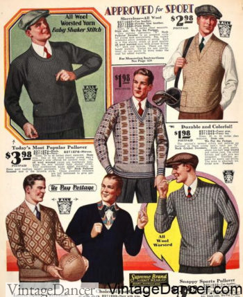 1929 V neck sweaters and round scoop necks jumpers at VintageDancer