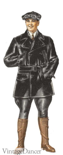 1929 leather aviator breeches and jacket