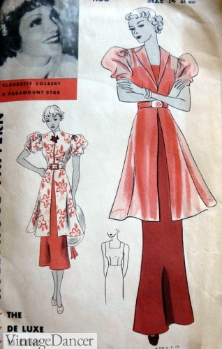 1930s tunic coat dress in day and evening fabrics
