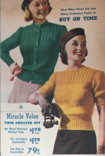 1930s nipped in cardigan sweater and short sleeve top