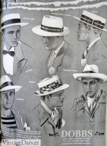 1930s mens straw hats