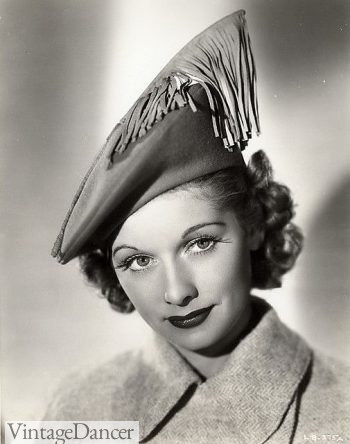 Lucile Ball stiff top beret with fringe feather 1930s