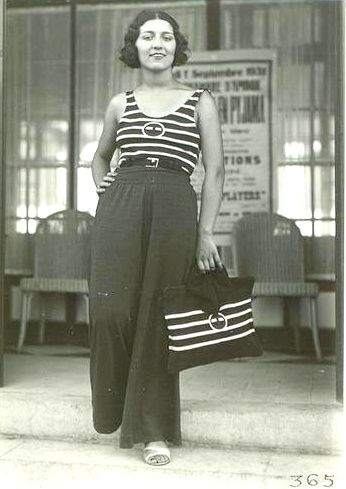 Wide leg beach pants and striped tank top 1930s