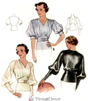 1930s blouses with bishop sleeves