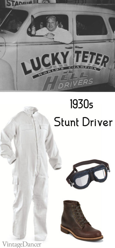 1930s race car driver stunt driver lucky teter hell driver costume idea for men - at VintageDancer.com
