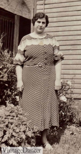1930s plus size Polka Dot Day Dress