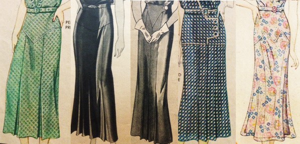 Early 1930s Yoke Drop Waist Skirts