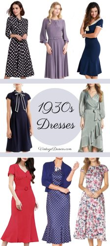 1930s dresses 1930s style dresses 30s dresses day dresses vintage tea dresses vintage midi dresses Old Hollywood dress @vintagedancer.com