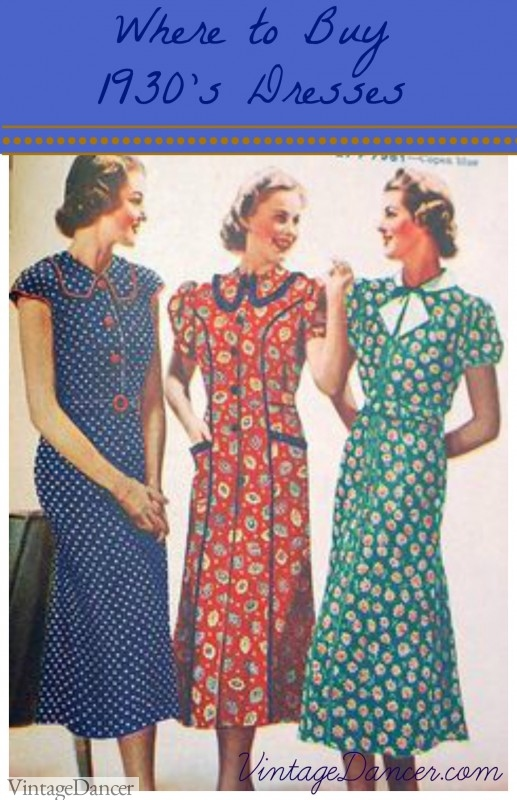 Where to buy 1930s dresses clothing and patterns for Where to buy dress shirts