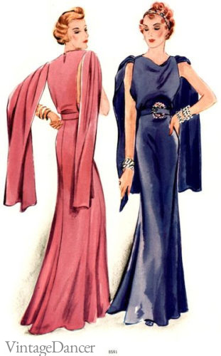 1930s evening dress long Slip Sleeves