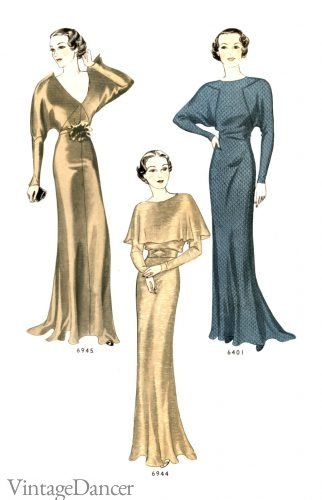 Slinky 30s evening gowns